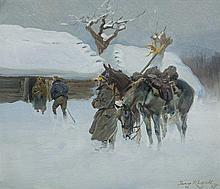Kossak Jerzy - UHLANS' RECONNAISSANCE, oil, cardboard