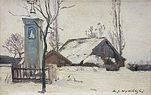 Wywiórski Michał Gorstkin - WINTER LANDSCAPE WITH A WAYSIDE SHRINE, CA. 1900, oil, canvas