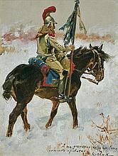 Kossak Wojciech - SOLDIER ON THE SNOW, 1895 - 1900, oil, board