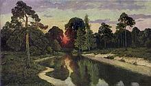 Korecki Wiktor - SUNSET BY THE RIVER, oil, canvas