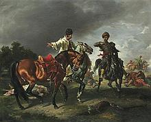 Kossak Juliusz - MR. PASEK ARGUING FOR A HORSE, 1861, oil, board