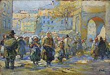 Erb  Erno - THE STREET MARKET IN LWOW, oil, cardboard