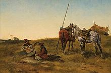 Rybkowski Tadeusz - COSSACKS RESTING ON A STEPPE, 1886, oil, mahogany board