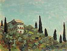 Bohuszewicz Jan - CYPRESS TREES ON A HILL, 1931, oil, carton