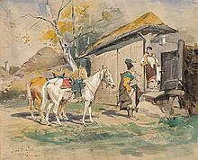 Brandt Józef - COURTSHIP, 1870 - 1875, pencil,paper