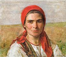 Pochwalski Kazimierz - GIRL IN A CRACOVIAN DRESS, 1923, oil, plywood