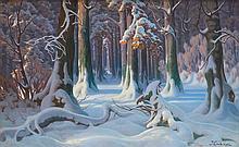 Grubiński Jan - WINTER FOREST, oil, canvas