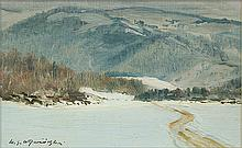 Wywiórski Michał Gorstkin - WINTER IN MOUNTAINS, oil, paper on carton
