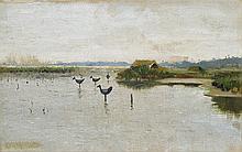 Chełmoński Józef - DUCK DECOYS ON A LAKE, oil, canvas