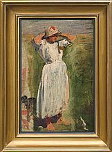 Tetmajer Włodzimierz - GIRL FROM BRONOWICE, oil, canvas on cardboard