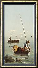 Capessiero Vittorio - THE GULF OF NAPLES. FISHERMAN IN THE SAIL BOAT, oil, board
