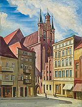 Karniej Edward - CHURCH OF ST. MARY ASSUMPTION IN TORUN, 1940, oil, cardboard