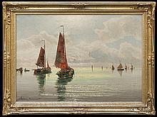 Lorenz-Murowana Ernst Hugo - FISHING BOATS IN SOUTHERN SUN, 1945, oil, canvas