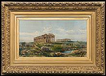 Lanza Giovanni Giordano - TEMPLES IN PAESTUM. , watercolour, paper