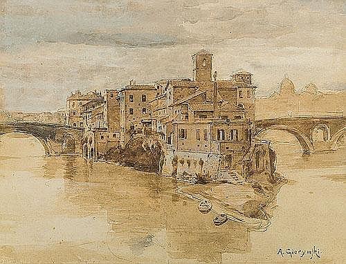 Gierymski Aleksander - ROME. ISOLA TIBERINA, C. 1890,