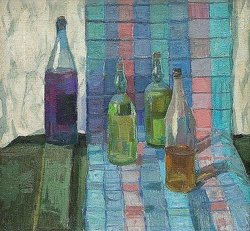 Wróblewski Andrzej - STILL LIFE WITH BOTTLES, 1954, oil, canvas