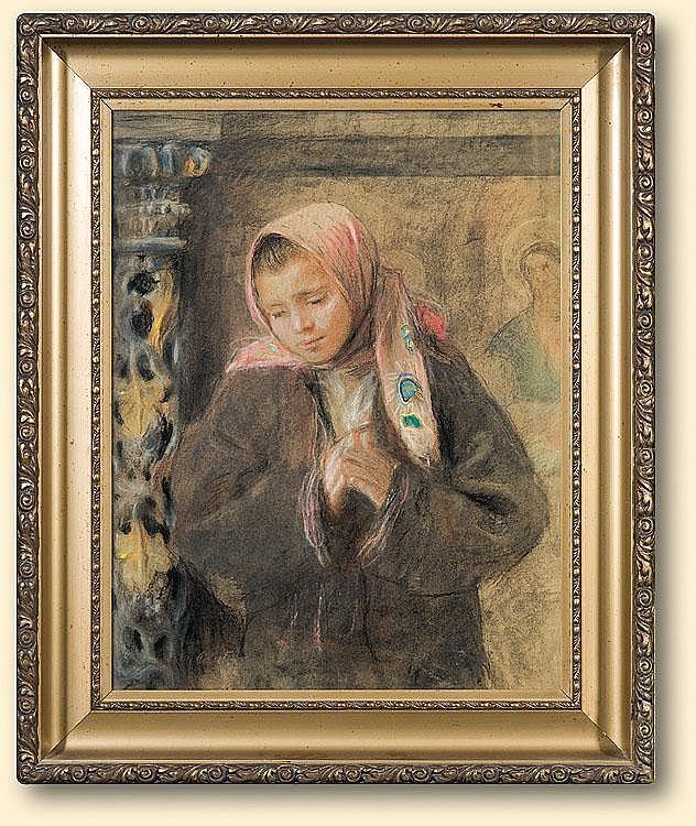 Axentowicz Teodor: Prayer: pastel,carton: 48.5 x