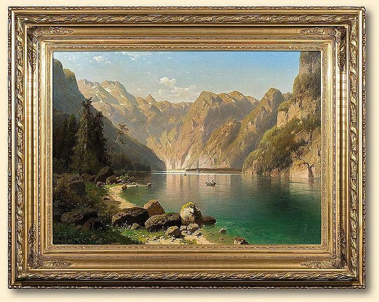 Chwala Adolf: Konigsee lake: oil, canvas: 74 x