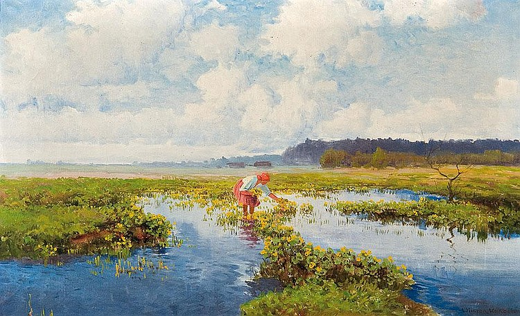 Korecki Wiktor: Spring, 1950: oil, canvas: 47 x 77