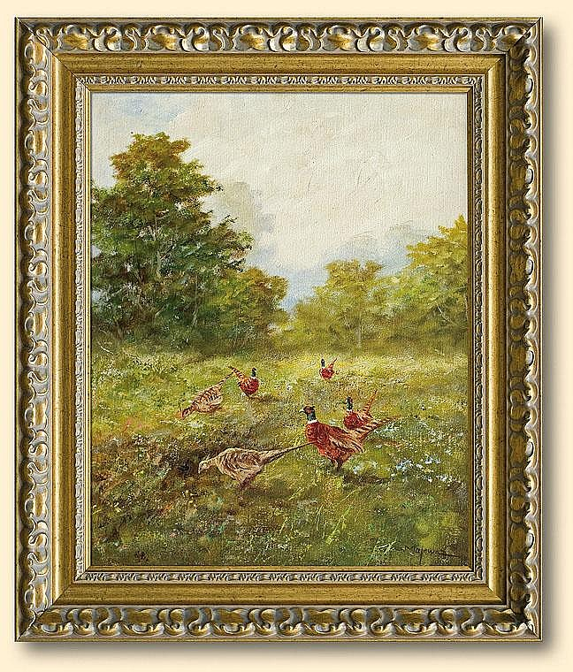 Majewicz George: Pheasants on meadow: oil, canvas: