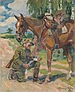 Kossak Wojciech: Dressing the horse, 1927: oil,, Wojciech Kossak, Click for value
