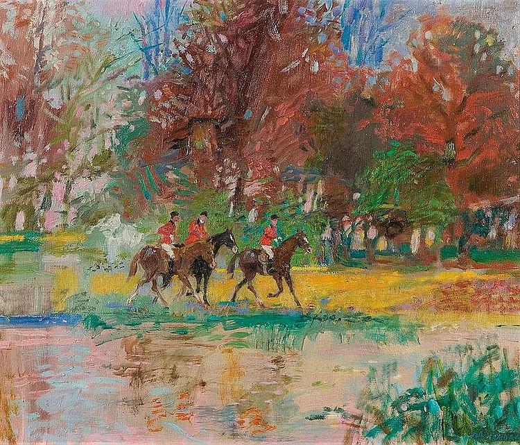 Szancenbach Jan: Autumn ride: oil, canvas: 64 x