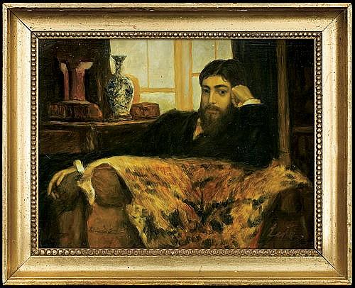 Lentz Stanisław - MEN'S PORTRAIT, CA. 1885, oil, board