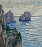 Capri, The Rocks of Faraglioni, 1916, Albert Wenk, Click for value