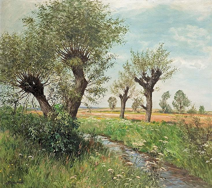 Frommhold Ernst Willows over the Stream