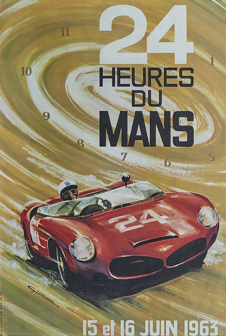 24 heures du mans 1963 affiche originale. Black Bedroom Furniture Sets. Home Design Ideas