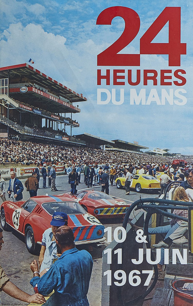 24 heures du mans 1967 affiche originale. Black Bedroom Furniture Sets. Home Design Ideas