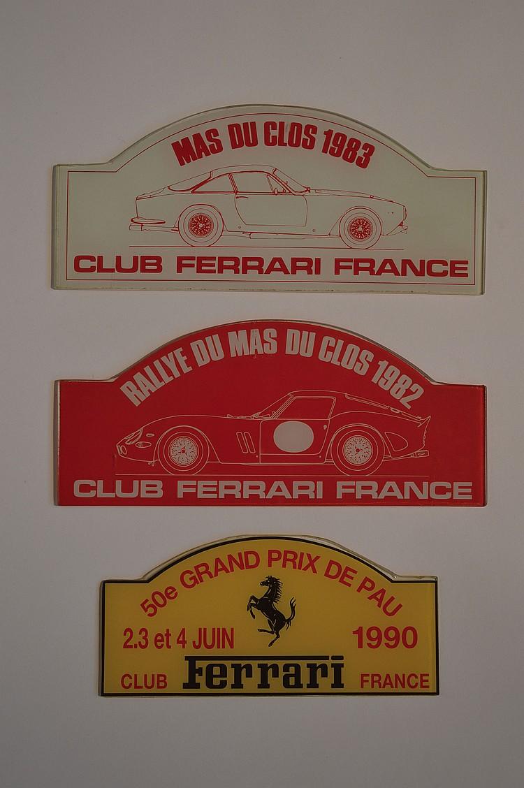 Club ferrari france lot de 3 plaques en verre pour - Plaque de verre bureau ...