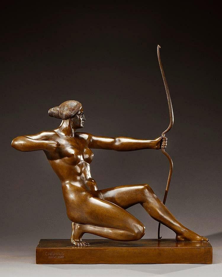 CARL NEUHAUS (né en 1881) Sculpture en bronze à