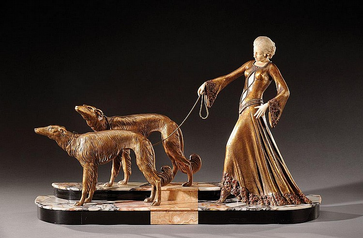GEORGES GORI (XIX-XXème)«Femme aux lévriers»