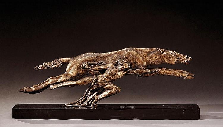 ALBERTO BAZZONY (1889-1973)«Cheval et homme courant»