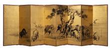 Japon, XVIIIe - début XIXe siècle Paravent à huit feuilles à l'encre noire sur fond or représentant un troupeau