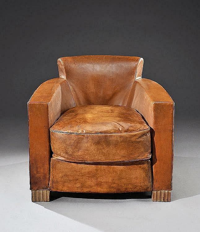 Michel roux spitz 1888 1957 rare fauteuil club enti rement - Fauteuil cuir marron vintage ...