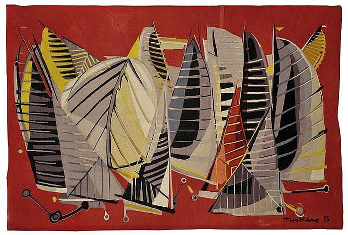 THEO KERG (1909-1993) «La Mêlée» Tapisserie rectangulaire au point noué