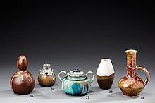 THÉO PERROT (1856-1942) Petit vase ovoïde en grès à décor de coulures grise