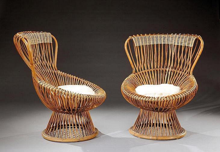 FRANCO ALBINI (1905-1977) Paire de fauteuils