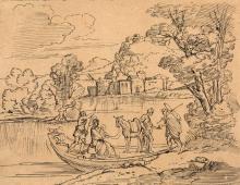 Sainte Famille en barque Plume et encre brune 19,5 x 25 cm Holy Family in boat Pen