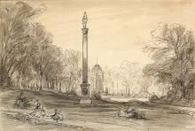 Les Jardins de Bagatelle Pierre noire, plume et lavis 16 x 24 cm Cachet du collectionneu