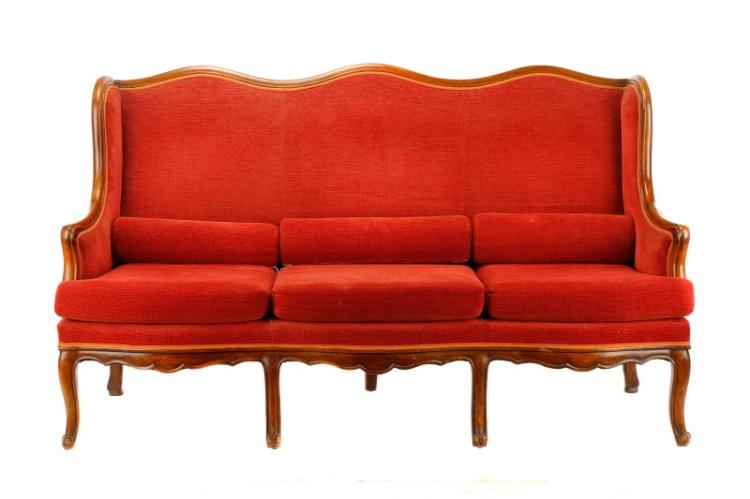 louis philippe style walnut wingback sofa