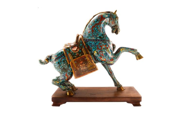 Impressive cloisonne horse censer on stand for Cloison stand