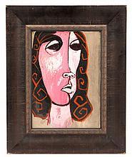 Oswaldo Guayasamin, Gouache, Untitled (Pink Woman)