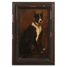 EDOUARD JACQUES DUFEU, PORTRAIT OF DOG, FRAMED