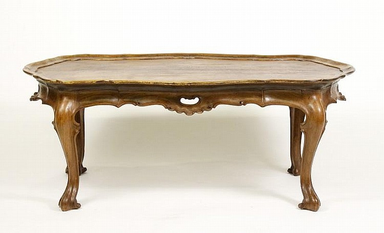 Spanish Rococo Style Olive Wood Coffee Table