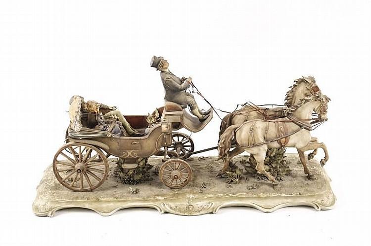 Antonio Borsato Porcelain Horse Drawn Coach, Italy