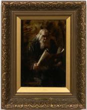 """Adolphe Hervier """"The Scholar"""" Figural Oil Portrait"""