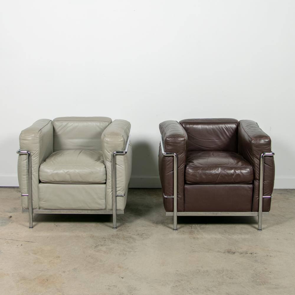 Pair, Le Corbusier for Cassina LC2 Poltrona Chairs